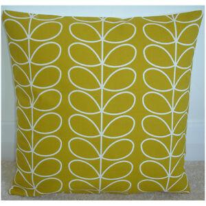 "Orla Kiely Cushion Cover Yellow 24"" Linear Stem Dandelion Ochre Retro 24x24"