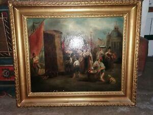 Gemälde Hafenszene wohl Genua Biedermeier um 1820 Öl auf Leinwand