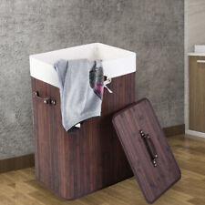 Bamboo Laundry Basket Clothes Hamper Storage Bin Bag Organizer Holder w/ Lid