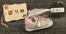 """Surprize By Stride Rite """"Braelin"""" Infant Sneakers Grey/Pink Size 6-12 Months"""
