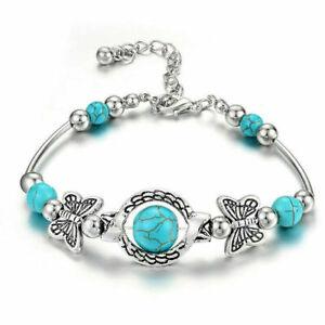 Boho Women Tibetan 925 Silver Green Turquoise Bangle Cuff Bracelet Jewelry Gift