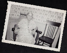 Vintage Antique Photograph Grandma Sitting in Chair in Retro Room Wild Wallpaper