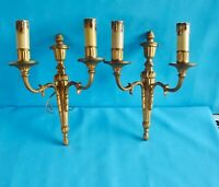 Antique Applique de Style Louis XVI Bronze Doré Chandelier Double avec bougie pl