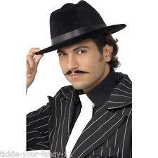 Mens 20's Gangster Fedora Hat Black Retro Fancy Dress Gangster Al Capone Trilby