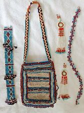 More details for native american job lot antiques likely cheyenne tobacco pouch belt necklace etc