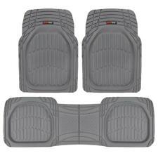 FlexTough Shell Rubber Floor Mats Gray Heavy Duty Deep Channels for Car 3pc Set