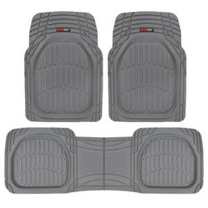 FlexTough Shell Rubber Floor Mats Heavy Duty Deep Channels for Car 3pc Set Gray