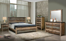 Rustic Multi-Tone Brown Finish 5 piece Bedroom Set w. King Size Panel Bed IA95