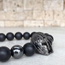 Charm Mens Gunmetal Spartan Disco Helmet Bracelet Matte Onyx Beads Warrior GOT