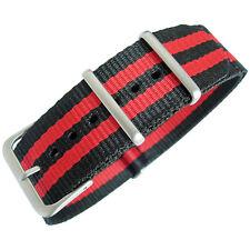 20mm Hadley-Roma MS4230 Red Black Stripe Nylon MoD G10 Military Watch Band Strap
