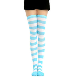 Women Girl Cute Paw Striped Lolita Over-knee Thigh Cosplay High Stockings Pink