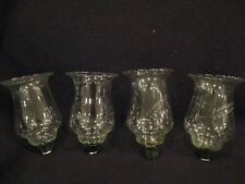 """4 Crystal Clear 5.5"""" Votive Candle Holders wheat or leaves etched in glass"""