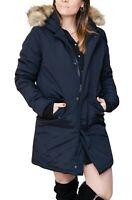Giubbotto Parka donna invernale blu scuro trench giacca piumino con pelliccia