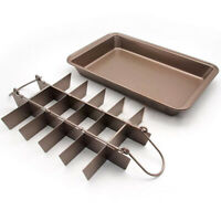 TECHTONGDA 18 Cavity Non Stick Brownie Pan with Dividers Steel Baking Pan