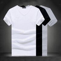 Plus S-4XL Men V Neck Round Neck T-shirt Cotton Slim Fit Short Sleeve Casual Top