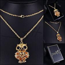 Lange Halskette & Anhänger *Edle Eule*, Gelbgold pl., Swarovski Elements, +Etui
