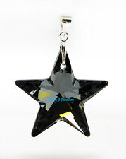 Black Crystal Star Pendant Swarovski Elements 925 Sterling - PENDANT ONLY