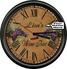 Personalized Wine Bar Your Name Retro Vintage Decor Bottle Sign Wall Clock