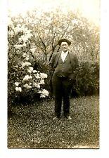 Man Stands in Yard by Large Flowering Bush-RPPC-Vintage Real Photo Postcard
