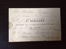 CLAUDE FERDINAND GAILLARD - FRENCH ENGRAVER & PAINTER - MESSAGE ON BUSINESS CARD