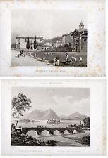 Stampe antiche COPPIA RARE VEDUTE LAGO MAGGIORE STRESA BAVENO 1835-45 Old prints