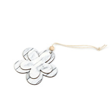 Pack of 3 Hanging Wooden Flowers with Beading White Grey 6 cm Simplistic Natural