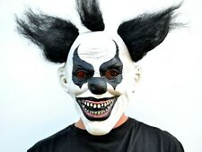 Scary Halloween Clown Mask with Hair Costume Party Black & White Clown