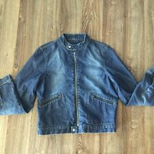VTG WOMENS TOMMY HILFIGER JEANS BLUE JEAN DENIM MOTORCYCLE JACKET SIZE LARGE