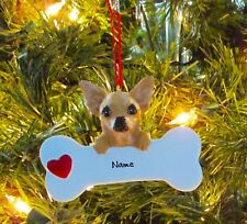 Chihuahua With Dog Bone Personalized Christmas Tree Ornaments