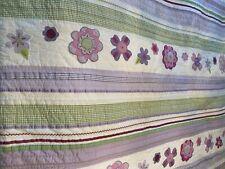 Pottery Barn Kids Blanket Quilt Comforter Full Floral Purple Green and White