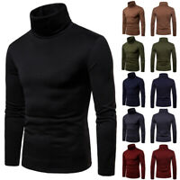 Men's Long Sleeve T Shirt High Neck Turtleneck Pullover Jumper Tee Shirt Top USA