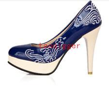 Womens Fashion High Stiletto Heel platform Vintage pumps shoes Plus Size Sandals