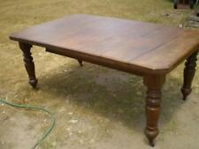 1900s English oak country kitchen extension table turned legs as found crank op