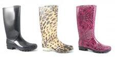 Flat (less than 0.5') Block Heel Rubber Boots for Women
