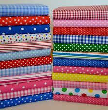 "SPOTS STARS GINGHAM FABRIC OFF CUTS BUNDLE OF 20 x 6"" SQUARE POLY COTTON"