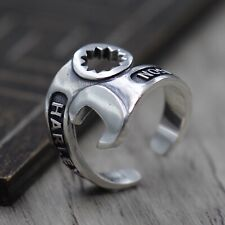 Solid 925 Sterling Silver Stamped Mens Wrench Spanner Ring Open Adjustable size