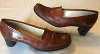 Antonio Melani Size 7.5 M Brown Leather Moc Toe Penny Loafer Dress Pumps Heels