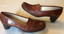 Antonio Melani Brown Leather Moc Toe Penny Loafer Dress Pumps Heels Size 7.5 M