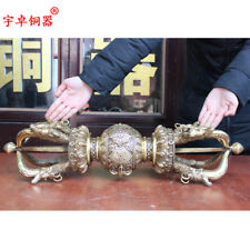 26'' China Tibet  Tibetan Buddhism Vajra Dojre Dagger Five Pronged Bronze Statue