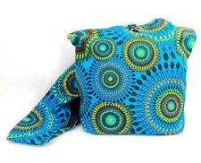 Hobo Crossbody Purse Cotton Blue Geometric Mandala Hippie Shoulder Bag