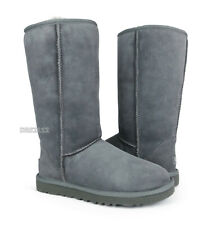 UGG Australia Classic Tall Grey Suede Fur Boots Womens Size 9 *NEW*