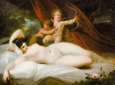 Hand painted Oil painting richard westall - the power of venus with angels cupid
