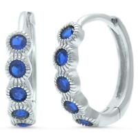 Spectacular Sapphire Bezel Huggie Hoop Earrings in Solid Sterling Silver