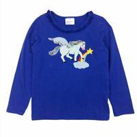 Hanna Andersson Girls 6 7 120 Unicorn Applique T Shirt Blue Rainbow Long Sleeve