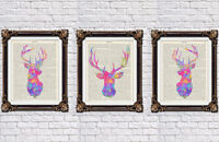 Stag head prints set wall hanging decor deer head Alice in wonderland prints too