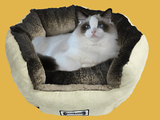 Padded Pet Lounge, Faux Suede Dog and Cat Bed, Pet Basket, Plush Lining - Sand