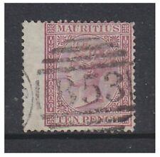 More details for mauritius - 1872, 1s orange (wmk reversed) stamp - used - sg 70x