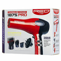 New Hair Blow Dryer With Comb Attachment Professional No Frizz Ion Control Red