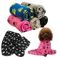 Pet Cat Dog Puppy Winter Blanket Warm Beds Mat Cover Soft Fleece Paw Print Super
