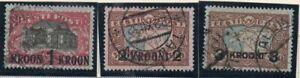 Estonia Sc 105-7 1930 Theatre & Map stamps overprinted  used